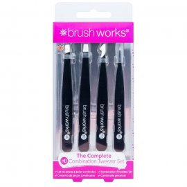 Brushworks HD 4 Piece Combination Tweezer Set - Black