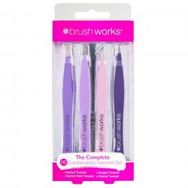 Brushworks HD 4 Piece Combination Tweezer Set - Mixed