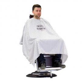 klippkappa, barbercape, wahl barber cape, striped barber cape, klippkappa barberare
